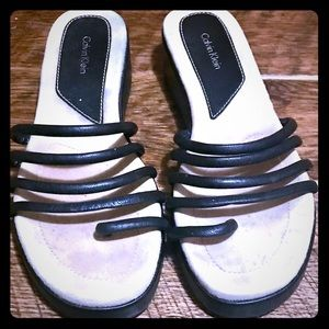 Super cute black strappy sandal by CK